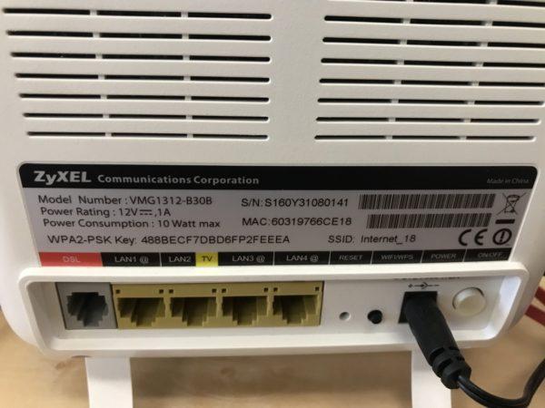 WiFi Router ZYXEL back